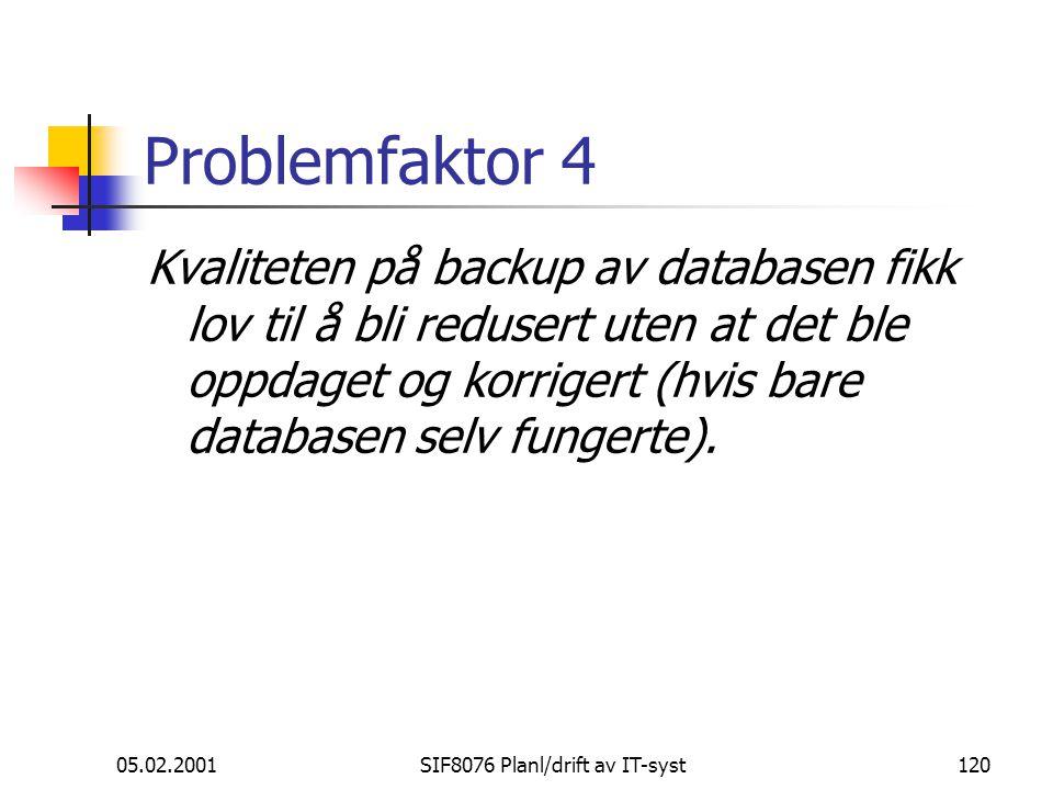 05.02.2001SIF8076 Planl/drift av IT-syst120 Problemfaktor 4 Kvaliteten på backup av databasen fikk lov til å bli redusert uten at det ble oppdaget og korrigert (hvis bare databasen selv fungerte).