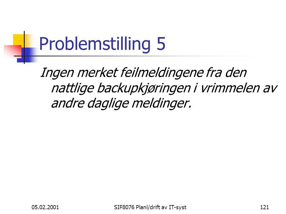 05.02.2001SIF8076 Planl/drift av IT-syst121 Problemstilling 5 Ingen merket feilmeldingene fra den nattlige backupkjøringen i vrimmelen av andre daglige meldinger.