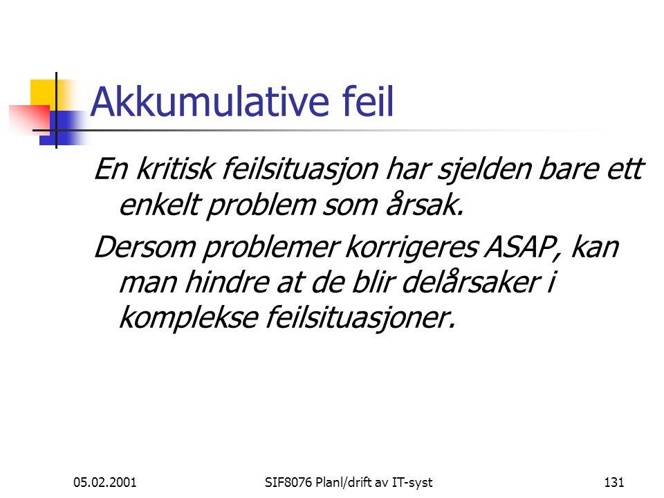 05.02.2001SIF8076 Planl/drift av IT-syst131 Akkumulative feil En kritisk feilsituasjon har sjelden bare ett enkelt problem som årsak.