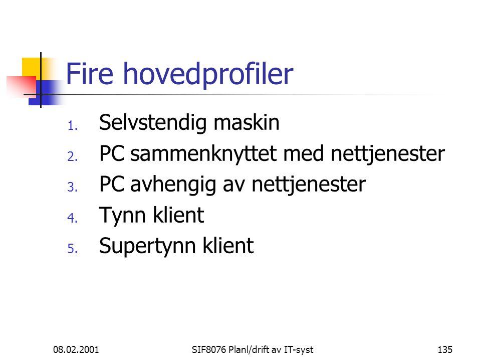 08.02.2001SIF8076 Planl/drift av IT-syst135 Fire hovedprofiler 1.