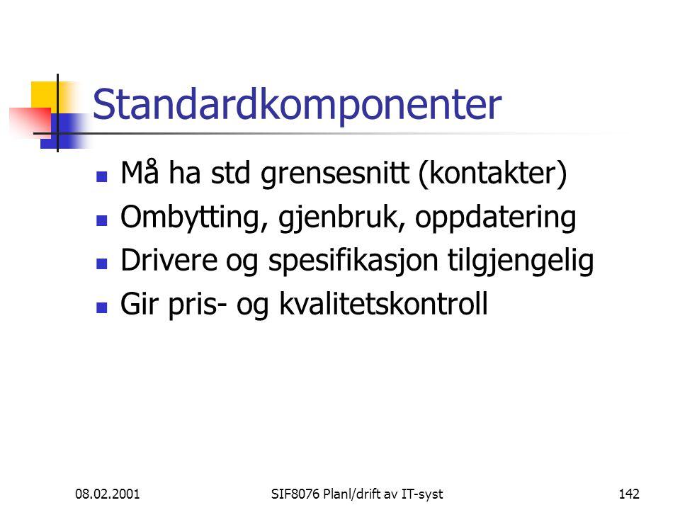 08.02.2001SIF8076 Planl/drift av IT-syst142 Standardkomponenter Må ha std grensesnitt (kontakter) Ombytting, gjenbruk, oppdatering Drivere og spesifikasjon tilgjengelig Gir pris- og kvalitetskontroll