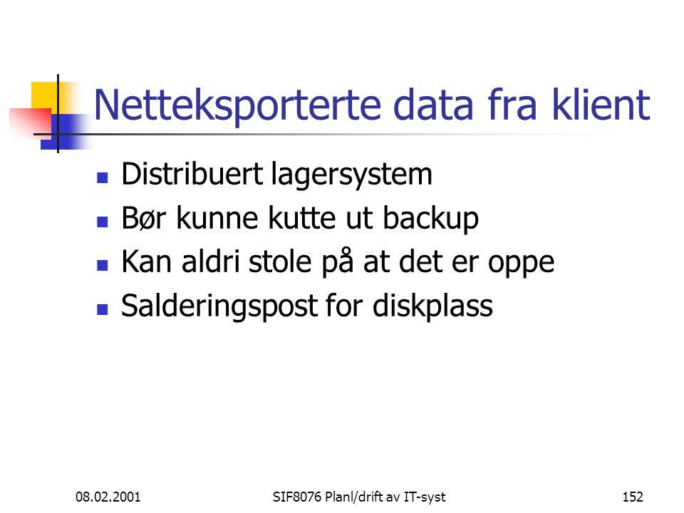 08.02.2001SIF8076 Planl/drift av IT-syst152 Netteksporterte data fra klient Distribuert lagersystem Bør kunne kutte ut backup Kan aldri stole på at det er oppe Salderingspost for diskplass