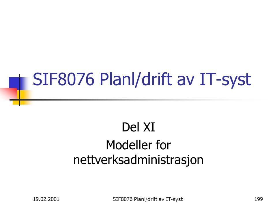 19.02.2001SIF8076 Planl/drift av IT-syst199 SIF8076 Planl/drift av IT-syst Del XI Modeller for nettverksadministrasjon
