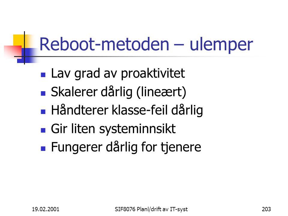 19.02.2001SIF8076 Planl/drift av IT-syst203 Reboot-metoden – ulemper Lav grad av proaktivitet Skalerer dårlig (lineært) Håndterer klasse-feil dårlig Gir liten systeminnsikt Fungerer dårlig for tjenere