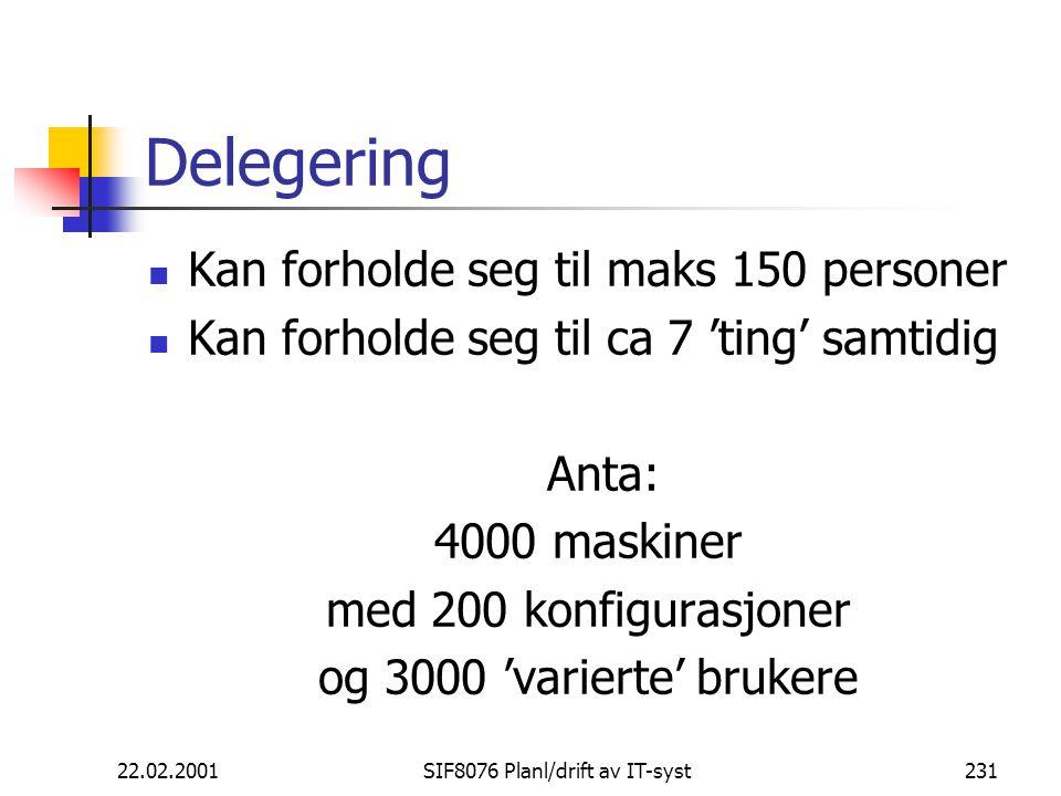 22.02.2001SIF8076 Planl/drift av IT-syst231 Delegering Kan forholde seg til maks 150 personer Kan forholde seg til ca 7 'ting' samtidig Anta: 4000 maskiner med 200 konfigurasjoner og 3000 'varierte' brukere