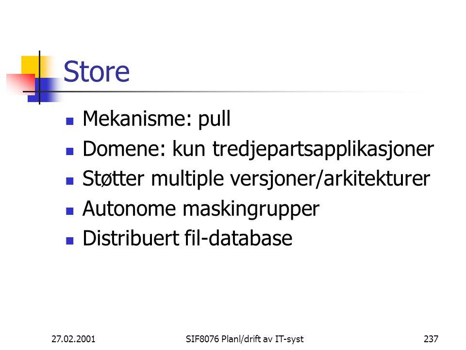 27.02.2001SIF8076 Planl/drift av IT-syst237 Store Mekanisme: pull Domene: kun tredjepartsapplikasjoner Støtter multiple versjoner/arkitekturer Autonome maskingrupper Distribuert fil-database