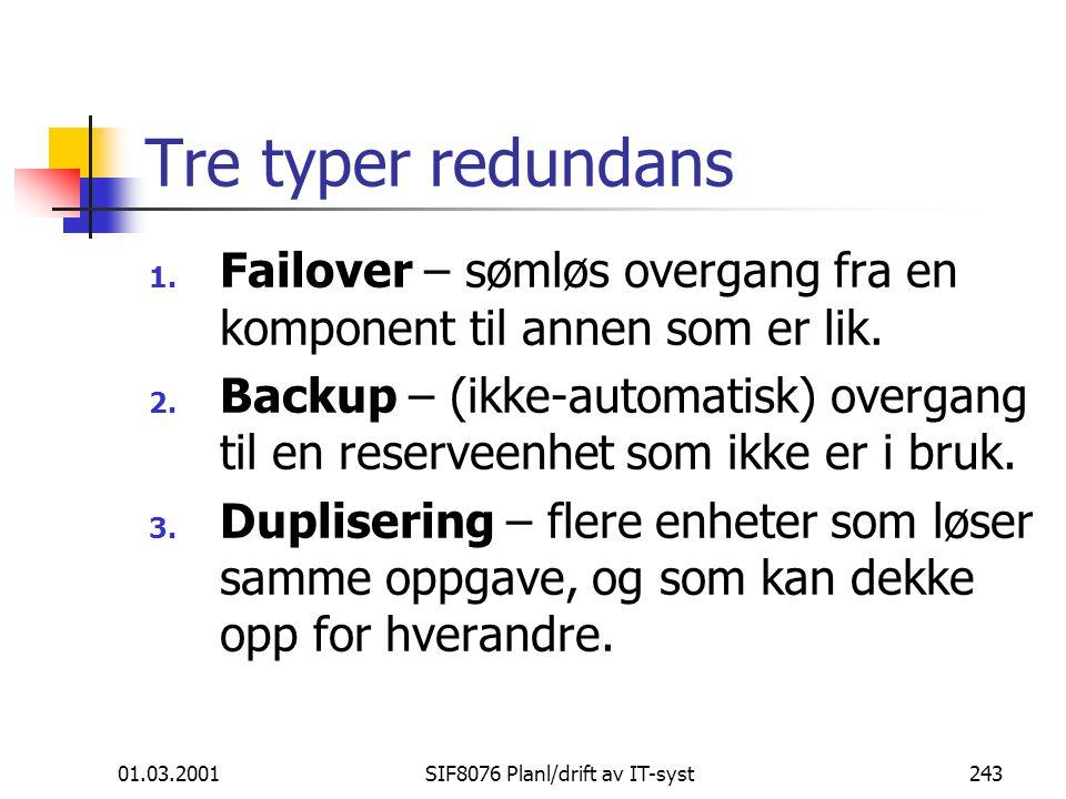 01.03.2001SIF8076 Planl/drift av IT-syst243 Tre typer redundans 1.