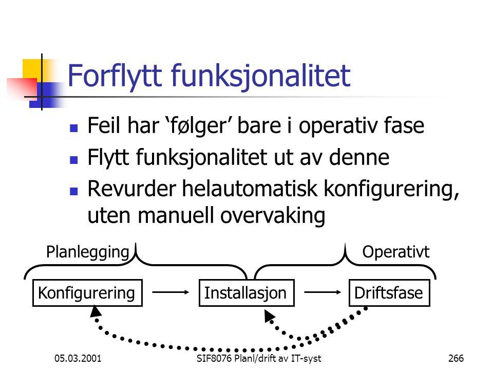 05.03.2001SIF8076 Planl/drift av IT-syst266 Forflytt funksjonalitet Feil har 'følger' bare i operativ fase Flytt funksjonalitet ut av denne Revurder helautomatisk konfigurering, uten manuell overvaking KonfigureringInstallasjonDriftsfase PlanleggingOperativt