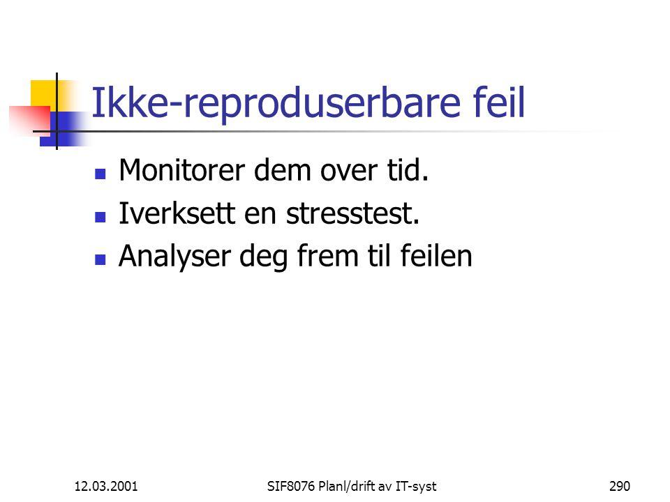 12.03.2001SIF8076 Planl/drift av IT-syst290 Ikke-reproduserbare feil Monitorer dem over tid.