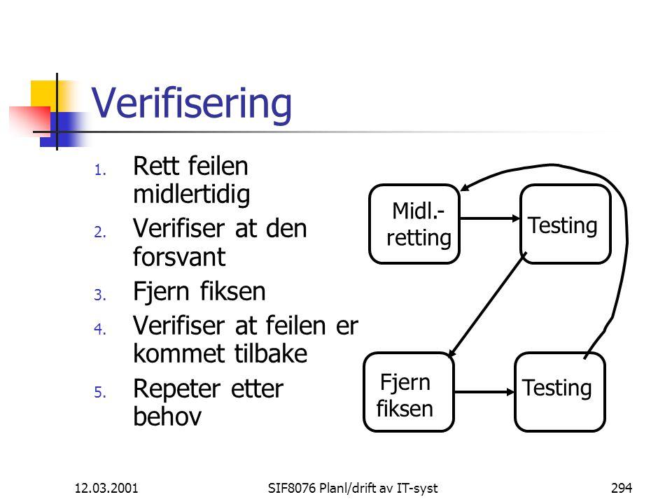 12.03.2001SIF8076 Planl/drift av IT-syst294 Verifisering 1.