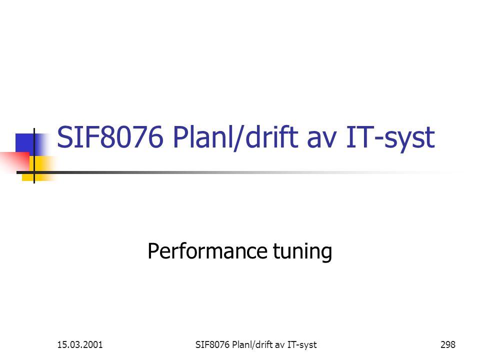 15.03.2001SIF8076 Planl/drift av IT-syst298 SIF8076 Planl/drift av IT-syst Performance tuning