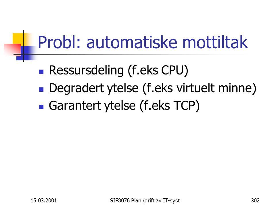 15.03.2001SIF8076 Planl/drift av IT-syst302 Probl: automatiske mottiltak Ressursdeling (f.eks CPU) Degradert ytelse (f.eks virtuelt minne) Garantert ytelse (f.eks TCP)