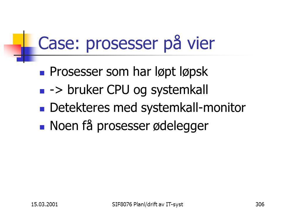 15.03.2001SIF8076 Planl/drift av IT-syst306 Case: prosesser på vier Prosesser som har løpt løpsk -> bruker CPU og systemkall Detekteres med systemkall-monitor Noen få prosesser ødelegger