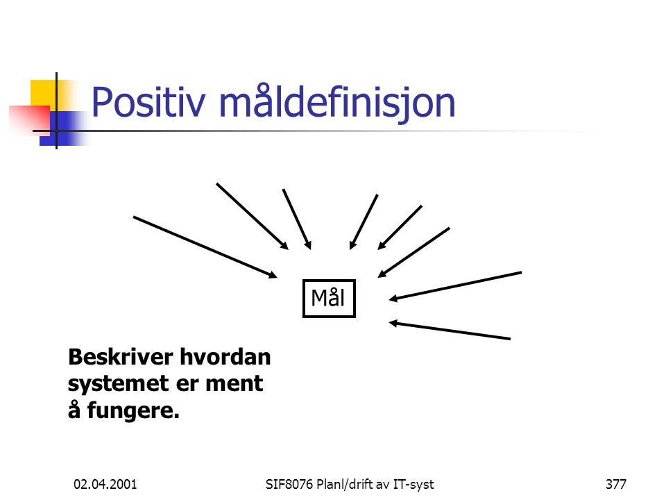 02.04.2001SIF8076 Planl/drift av IT-syst377 Positiv måldefinisjon Mål Beskriver hvordan systemet er ment å fungere.