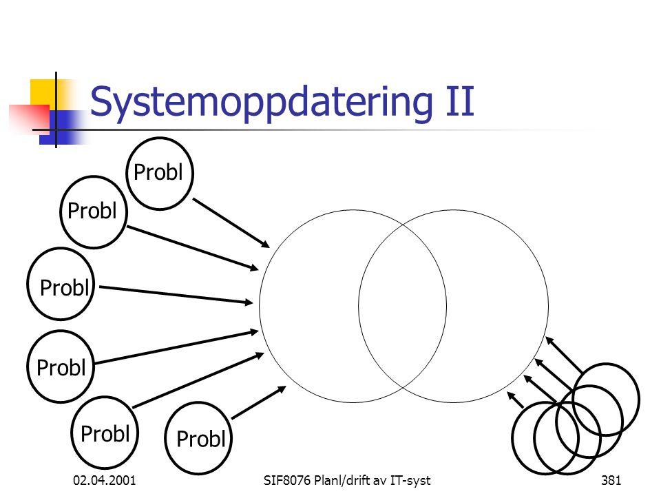02.04.2001SIF8076 Planl/drift av IT-syst381 Systemoppdatering II Probl