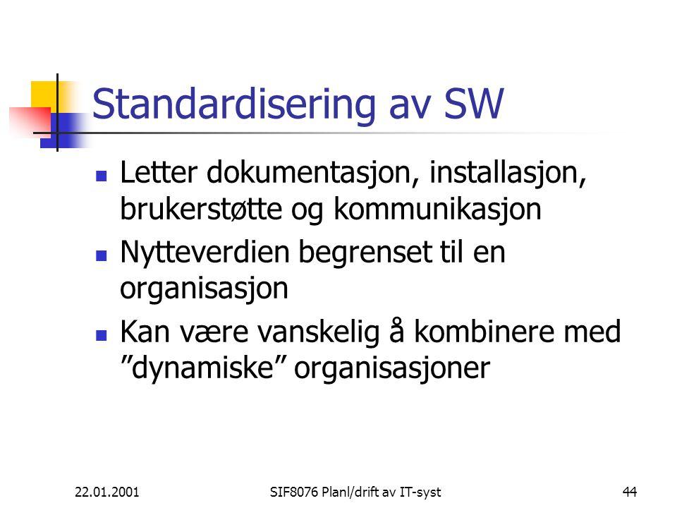 22.01.2001SIF8076 Planl/drift av IT-syst44 Standardisering av SW Letter dokumentasjon, installasjon, brukerstøtte og kommunikasjon Nytteverdien begrenset til en organisasjon Kan være vanskelig å kombinere med dynamiske organisasjoner