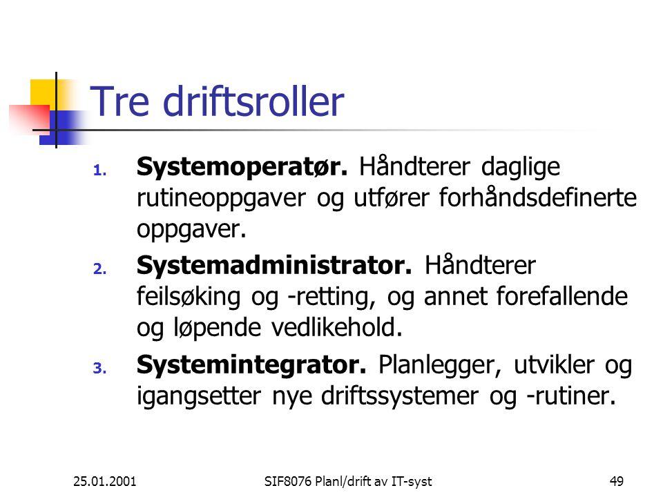 25.01.2001SIF8076 Planl/drift av IT-syst49 Tre driftsroller 1.