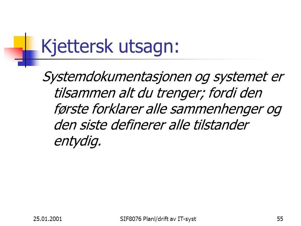25.01.2001SIF8076 Planl/drift av IT-syst55 Kjettersk utsagn: Systemdokumentasjonen og systemet er tilsammen alt du trenger; fordi den første forklarer alle sammenhenger og den siste definerer alle tilstander entydig.