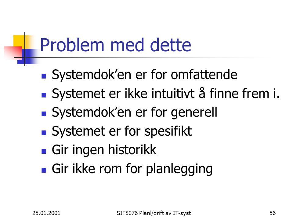 25.01.2001SIF8076 Planl/drift av IT-syst56 Problem med dette Systemdok'en er for omfattende Systemet er ikke intuitivt å finne frem i.