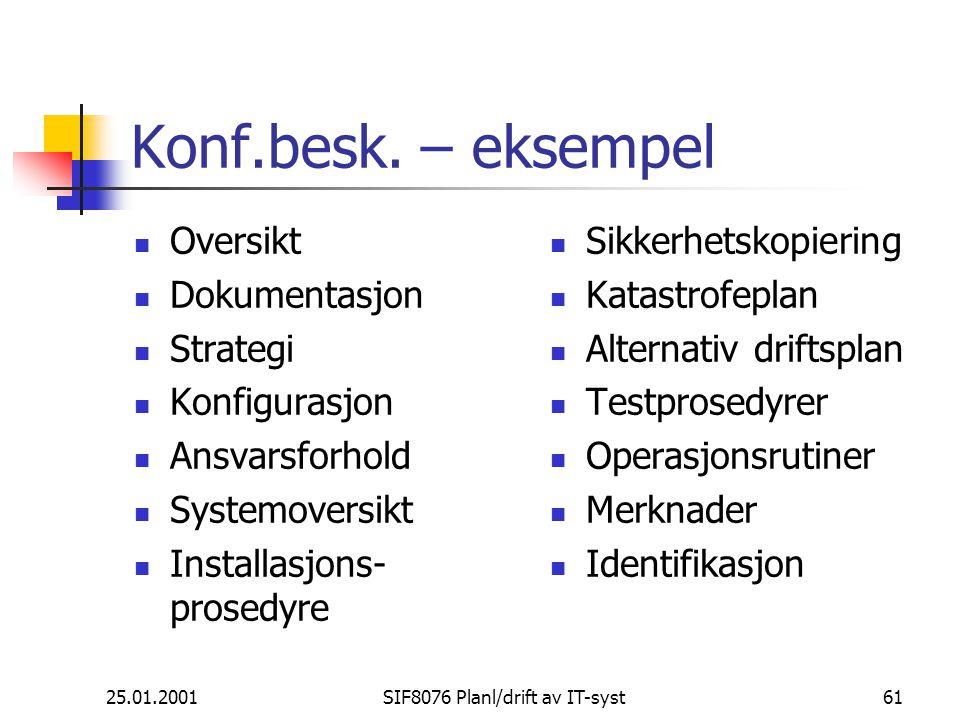 25.01.2001SIF8076 Planl/drift av IT-syst61 Konf.besk.