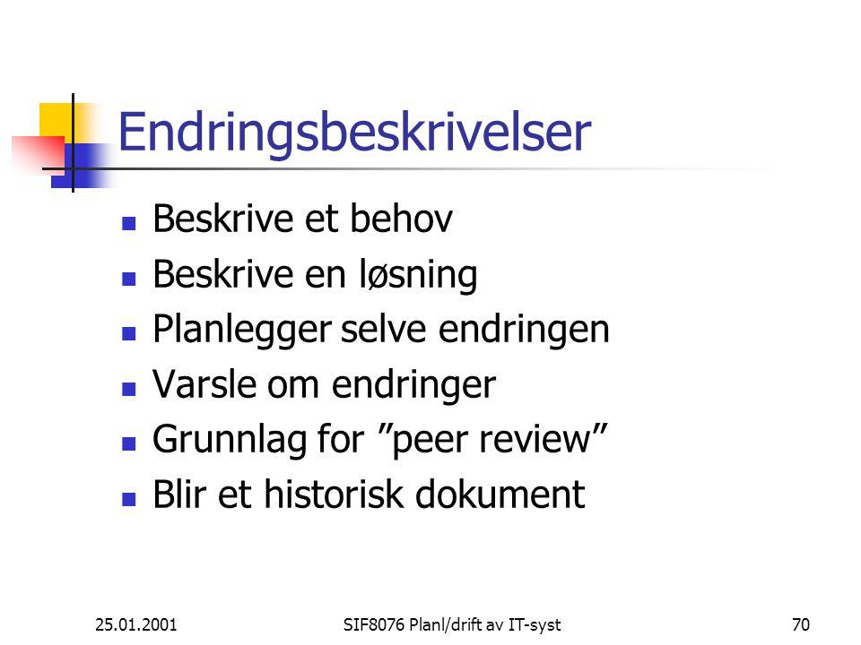25.01.2001SIF8076 Planl/drift av IT-syst70 Endringsbeskrivelser Beskrive et behov Beskrive en løsning Planlegger selve endringen Varsle om endringer Grunnlag for peer review Blir et historisk dokument