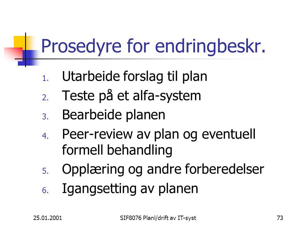 25.01.2001SIF8076 Planl/drift av IT-syst73 Prosedyre for endringbeskr.