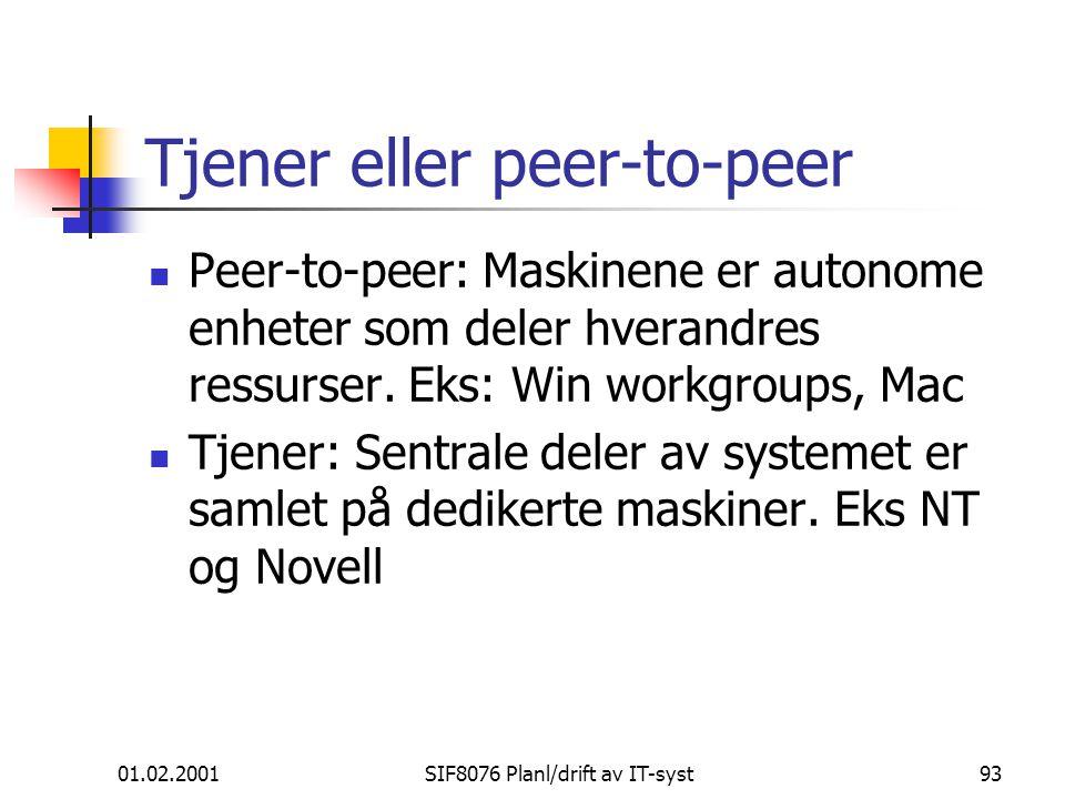 01.02.2001SIF8076 Planl/drift av IT-syst93 Tjener eller peer-to-peer Peer-to-peer: Maskinene er autonome enheter som deler hverandres ressurser.