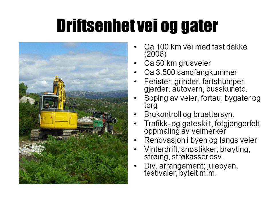 Driftsenhet vei og gater Ca 100 km vei med fast dekke (2006) Ca 50 km grusveier Ca 3.500 sandfangkummer Ferister, grinder, fartshumper, gjerder, autovern, busskur etc.