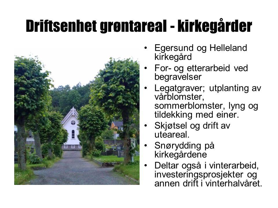 Driftsenhet grøntareal - kirkegårder Egersund og Helleland kirkegård For- og etterarbeid ved begravelser Legatgraver; utplanting av vårblomster, sommerblomster, lyng og tildekking med einer.