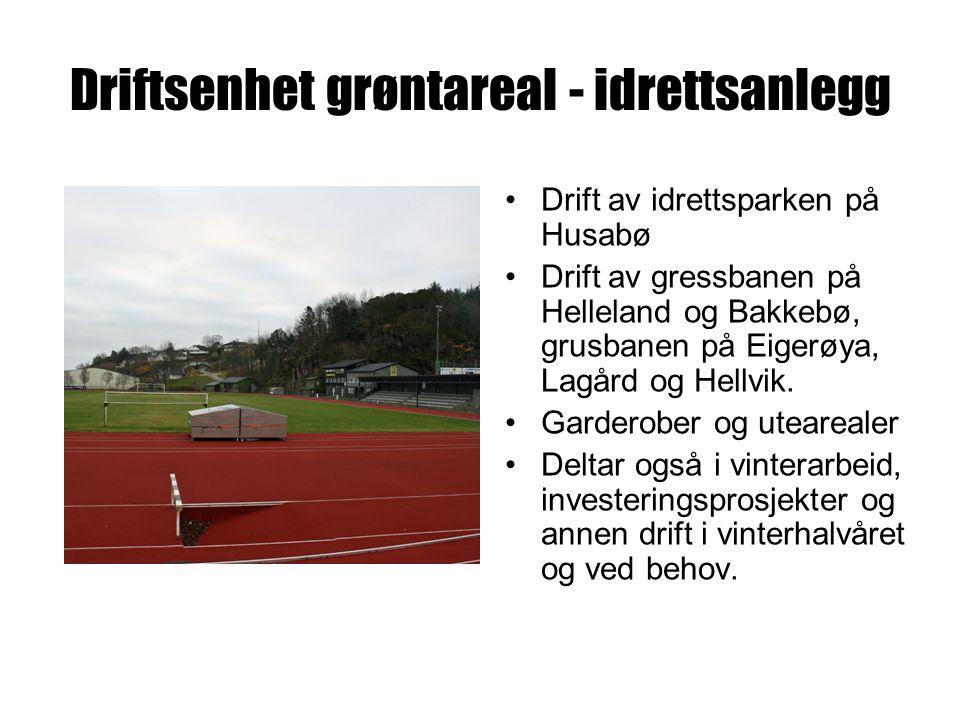 Driftsenhet grøntareal - idrettsanlegg Drift av idrettsparken på Husabø Drift av gressbanen på Helleland og Bakkebø, grusbanen på Eigerøya, Lagård og Hellvik.