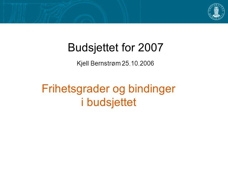 Budsjettet for 2007 Kjell Bernstrøm 25.10.2006 Frihetsgrader og bindinger i budsjettet