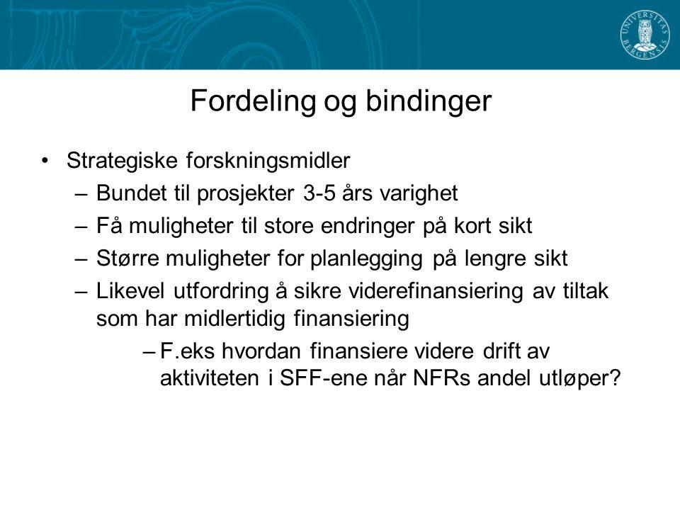 Fordeling og bindinger Strategiske forskningsmidler –Bundet til prosjekter 3-5 års varighet –Få muligheter til store endringer på kort sikt –Større muligheter for planlegging på lengre sikt –Likevel utfordring å sikre viderefinansiering av tiltak som har midlertidig finansiering –F.eks hvordan finansiere videre drift av aktiviteten i SFF-ene når NFRs andel utløper