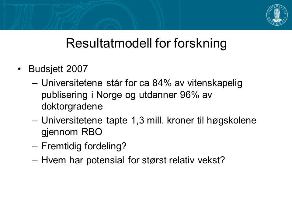 Resultatmodell for forskning Budsjett 2007 –Universitetene står for ca 84% av vitenskapelig publisering i Norge og utdanner 96% av doktorgradene –Universitetene tapte 1,3 mill.