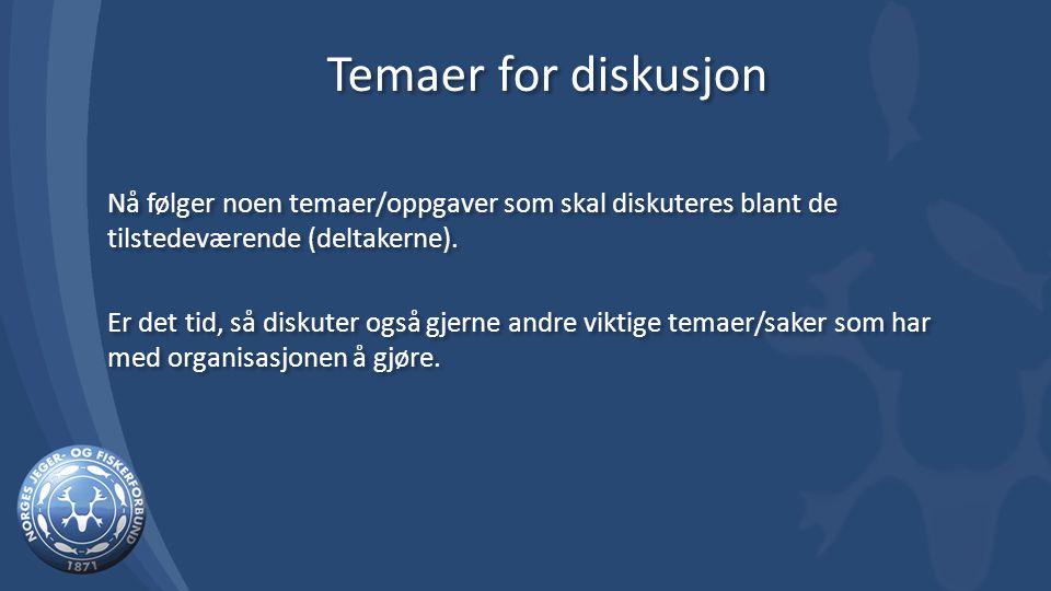 Temaer for diskusjon Nå følger noen temaer/oppgaver som skal diskuteres blant de tilstedeværende (deltakerne).