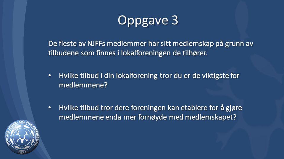 Oppgave 3 De fleste av NJFFs medlemmer har sitt medlemskap på grunn av tilbudene som finnes i lokalforeningen de tilhører.