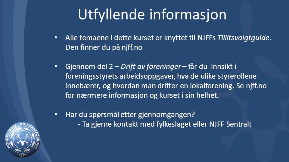 Alle temaene i dette kurset er knyttet til NJFFs Tillitsvalgtguide.