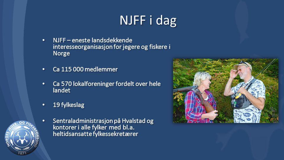 NJFF i dag NJFF – eneste landsdekkende interesseorganisasjon for jegere og fiskere i Norge Ca 115 000 medlemmer Ca 570 lokalforeninger fordelt over hele landet 19 fylkeslag Sentraladministrasjon på Hvalstad og kontorer i alle fylker med bl.a.