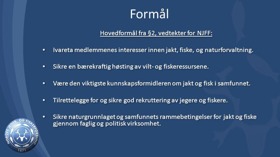 Hovedformål fra §2, vedtekter for NJFF: Ivareta medlemmenes interesser innen jakt, fiske, og naturforvaltning.
