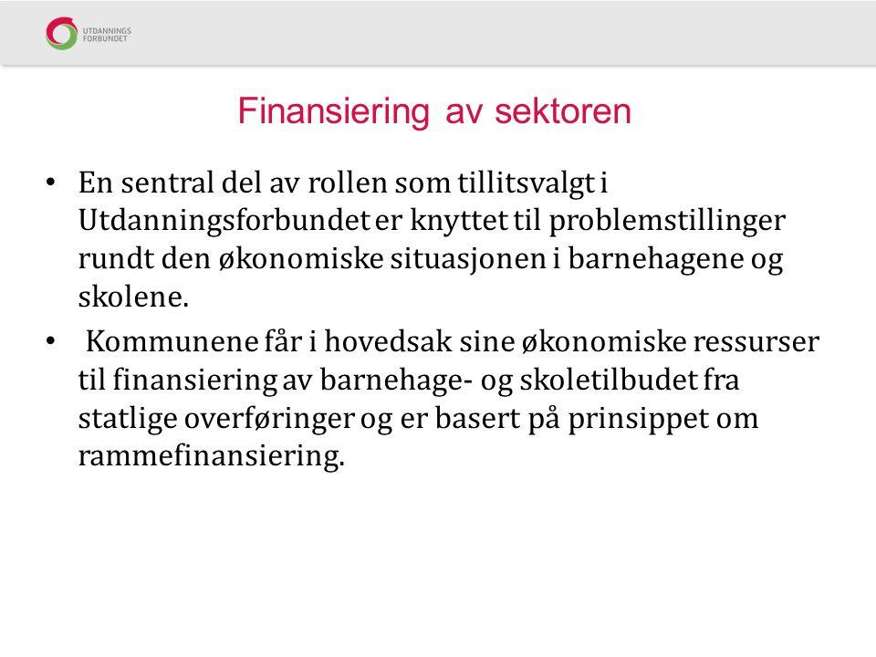 Finansiering av sektoren En sentral del av rollen som tillitsvalgt i Utdanningsforbundet er knyttet til problemstillinger rundt den økonomiske situasj