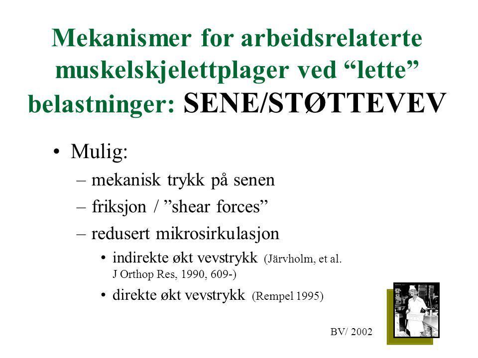 """Mekanismer for arbeidsrelaterte muskelskjelettplager ved """"lette"""" belastninger: SENE/STØTTEVEV Mulig: –mekanisk trykk på senen –friksjon / """"shear force"""
