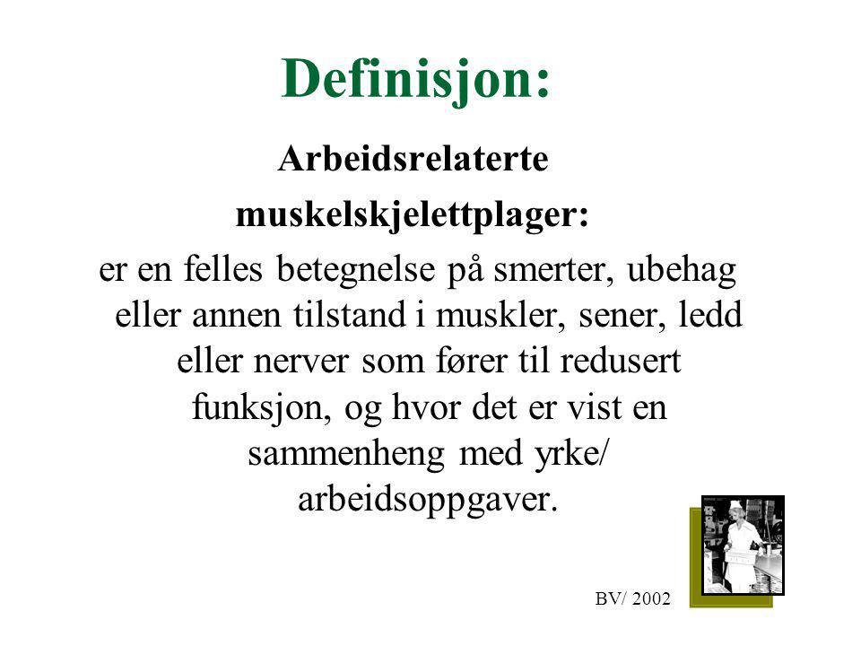 Definisjon: Arbeidsrelaterte muskelskjelettplager: er en felles betegnelse på smerter, ubehag eller annen tilstand i muskler, sener, ledd eller nerver