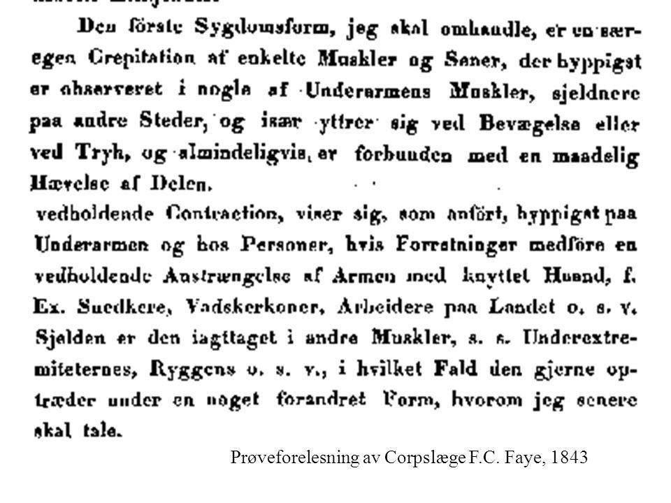 Prøveforelesning av Corpslæge F.C. Faye, 1843