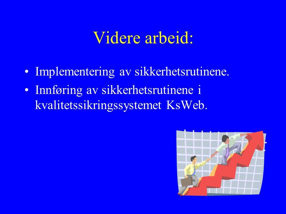 Videre arbeid: Implementering av sikkerhetsrutinene.