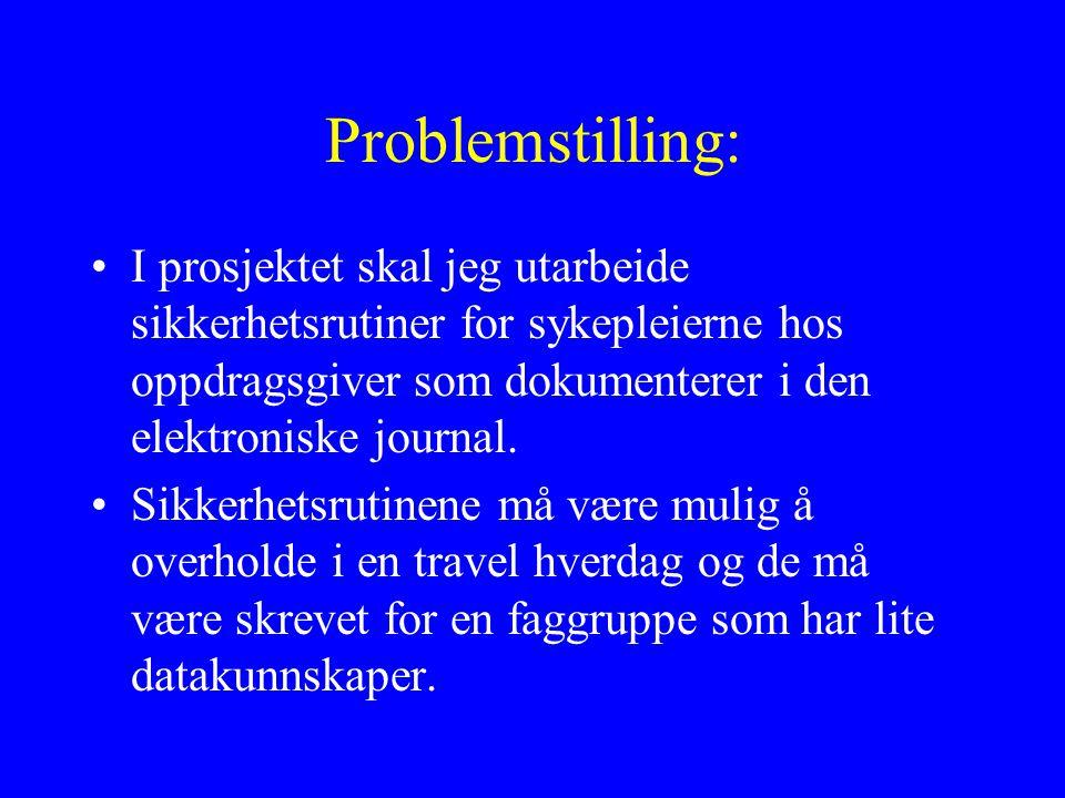 Problemstilling: I prosjektet skal jeg utarbeide sikkerhetsrutiner for sykepleierne hos oppdragsgiver som dokumenterer i den elektroniske journal.