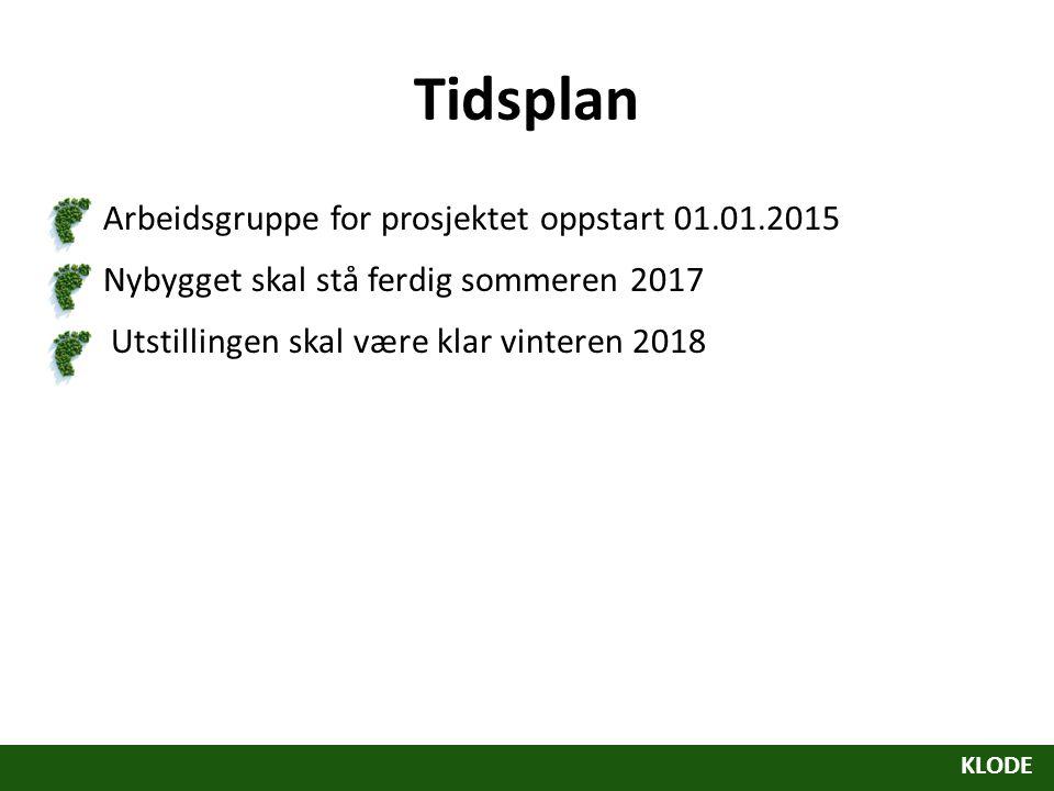 Tidsplan Arbeidsgruppe for prosjektet oppstart 01.01.2015 Nybygget skal stå ferdig sommeren 2017 Utstillingen skal være klar vinteren 2018 KLODE