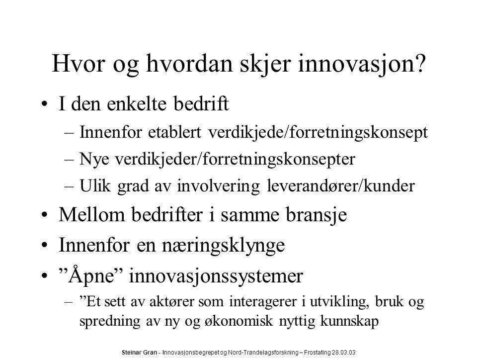 Steinar Gran - Innovasjonsbegrepet og Nord-Trøndelagsforskning – Frostating 28.03.03 Hvor og hvordan skjer innovasjon.
