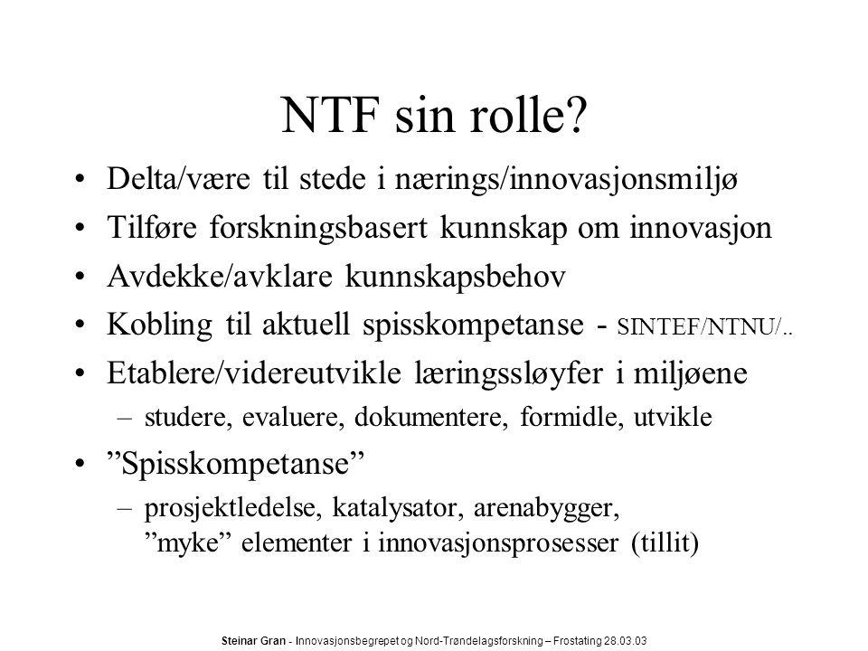 Steinar Gran - Innovasjonsbegrepet og Nord-Trøndelagsforskning – Frostating 28.03.03 NTF sin rolle.