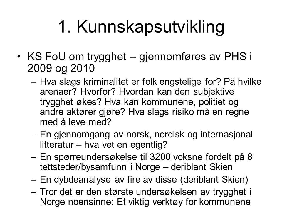 1. Kunnskapsutvikling KS FoU om trygghet – gjennomføres av PHS i 2009 og 2010 –Hva slags kriminalitet er folk engstelige for? På hvilke arenaer? Hvorf
