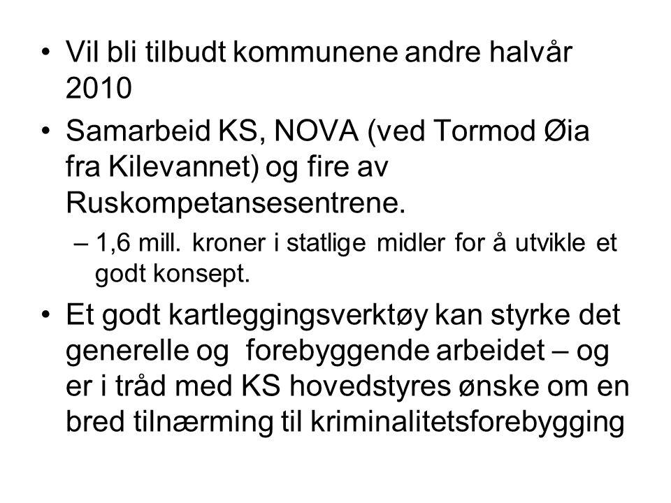Vil bli tilbudt kommunene andre halvår 2010 Samarbeid KS, NOVA (ved Tormod Øia fra Kilevannet) og fire av Ruskompetansesentrene. –1,6 mill. kroner i s