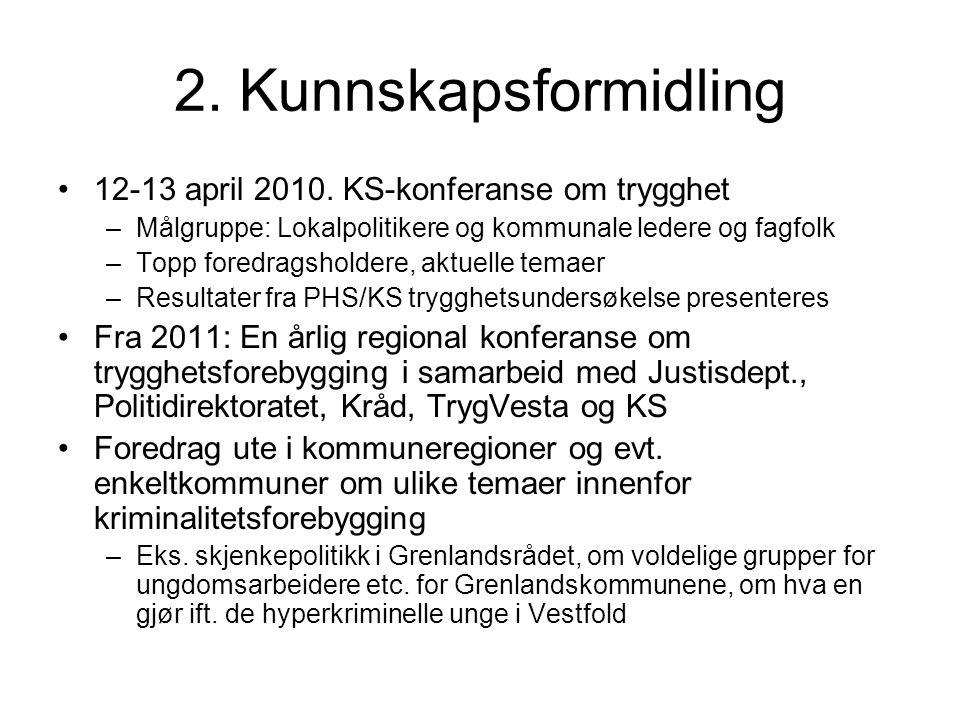 2. Kunnskapsformidling 12-13 april 2010. KS-konferanse om trygghet –Målgruppe: Lokalpolitikere og kommunale ledere og fagfolk –Topp foredragsholdere,
